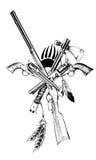 Antike Waffen gezeichnete Tinte Stockbild