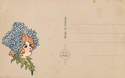 Antike Weinleseartpostkarte mit Blumenfeenillustration stock abbildung