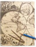 Antike Weltkarte, Kompaß Stockbilder