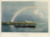 Antiken-Regenbogen-Effekt 1860 auf das ThamesRiver in London Stockbild