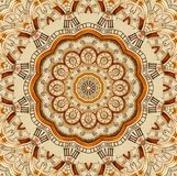 Antiker alter goldener Uhrkaleidoskopmuster-Zusammenfassungshintergrund Goldener Uhrrüttler des abstrakten surrealen Uhrmusterkal lizenzfreie abbildung