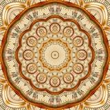 Antiker alter goldener Uhrkaleidoskopmuster-Zusammenfassungshintergrund Goldener Uhrrüttler des abstrakten surrealen Uhrmusterkal stock abbildung