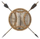 Antiker alter hölzerner Pfeil und Schild lokalisiert Lizenzfreies Stockbild
