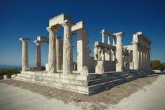 Antiker Aphaia-Tempel in Aegina-Insel, Griechenland Lizenzfreie Stockfotos