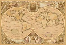 Antiker Art Weltkartenvektor Stockfoto