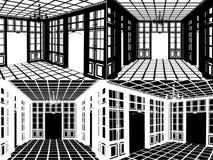 Antiker Bücherschrank-Raum-Schattenbild-Vektor 04 Lizenzfreies Stockbild