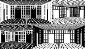 Antiker Bücherschrank-Raum-Schattenbild-Vektor 06 lizenzfreie abbildung