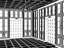 Antiker Bücherschrank-Raum-Vektor 04 Stockbilder