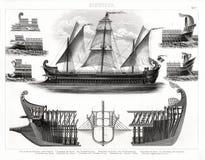 Antiker Druck 1874 des altgriechischen Trireme-Kriegsschiffes Lizenzfreie Stockfotografie