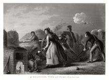 Antiker Druck 1860: Eine Soldat ` s Frau am Fort Niagara, Krieg von 1812 durch T wanderer Lizenzfreie Stockfotografie