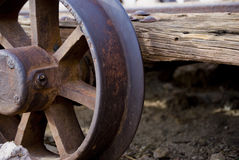 Antiker Eisenbahn-Flachwagen Stockbilder
