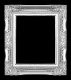 Antiker grauer Rahmen lokalisiert auf schwarzem Hintergrund Stockfotos