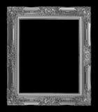 antiker grauer Rahmen lokalisiert auf schwarzem Hintergrund, Beschneidungspfad Lizenzfreie Stockfotografie