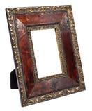 Antiker hölzerner Fotorahmen lokalisiert auf weißem Hintergrund lizenzfreies stockbild