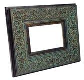 Antiker hölzerner Fotorahmen lokalisiert auf weißem Hintergrund stockfotografie