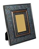 Antiker hölzerner Fotorahmen lokalisiert auf weißem Hintergrund stockfotos
