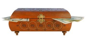 Antiker Kasten mit Geld Stockfotografie