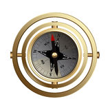 Antiker kupferner Kompass für Reisende Stockfotos