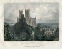 Antiker Lincoln Cathedral Großbritannien 1829 Stockbild
