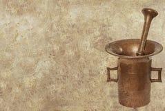 Antiker Mörserhintergrund Stockbilder
