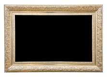 Antiker rechteckiger goldener Rahmen lokalisiert auf weißem Hintergrund lizenzfreie stockbilder