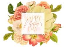 Antiker Rose Mothers Day Floral Bouquet-Rahmen vektor abbildung