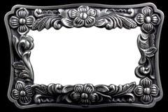 Antiker silberner Bilderrahmen mit einem dekorativen Klaps Stockfotografie