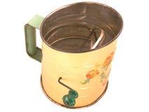 Antiker Tinware-Mehl-Filter Stockfotografie