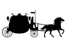 Antiker Wagen mit Pferdeschwarz-Vektorschattenbild Lizenzfreie Stockbilder