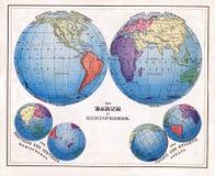 1874 antiker Waren Print von der Welt in den Hemisphären mit polaren Projektionen Lizenzfreie Stockfotos