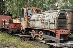 Antikes Bahnmonument des Wagenzugs stockfoto