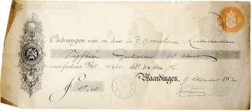 Antikes checque von 1920 Lizenzfreie Stockfotografie