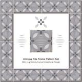 Antikes Fliesenrahmen-Muster set_308 Licht Grey Curve Cross Line Flower Stockfotografie