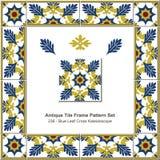 Antikes Fliesenrahmenmuster set_236 blaues Blatt-Kreuz-Kaleidoskop Lizenzfreie Stockfotografie
