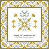 Antikes Fliesenrahmenmuster set_078 goldenes Grey Kaleidoscope Stockfotografie