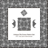Antikes Fliesenrahmenmuster set_076 Grey Spiral Kaleidoscope Stockbilder