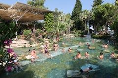 Antikes Pool in alter Stadt Hierapolis, die Türkei Stockfotos