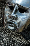 Antikes Rüstungs-Metallmenschliches Gesicht lizenzfreies stockfoto