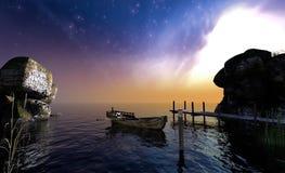 Antikes rawboat auf See am frühen Morgen, Wiedergabe 3d Stockbild