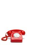 Antikes rotes Telefon Stockfotografie