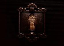 Antikes Schlüsselloch mit dem brickwall, das es blockiert Stockbilder