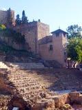 Antikes Schloss Roman Theatre-amerikanischen Nationalstandards in Màlaga Stockfotografie