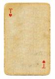 Antikes Spielkarteherz-as Papierhintergrund Stockbild