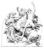 Antikes vektorabbildungpferd mit Mitfahrer Stockbild