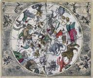Antikisieren Sie Nord-Celestial Hemisphere von klassischem Stockbilder
