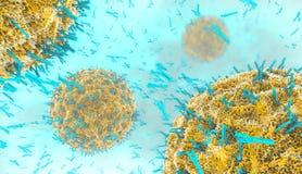 Antikropper som anfaller viruscellen in i blodströmmen royaltyfri illustrationer