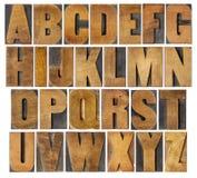 Antikt alfabet som ställs in i wood typ Arkivbild
