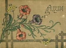 Antikt bokomslag för victorianurklippsbokalbum Arkivfoton