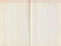 Antikt gammalt block för huvudbokpapper med linjer Arkivfoto
