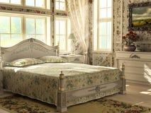 Antikt lyxigt sovrum Arkivbilder